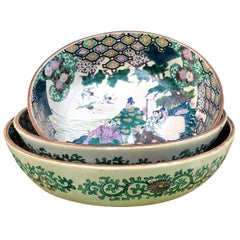 Japan Set of Three Hand Painted Garden Bowls, 1920s