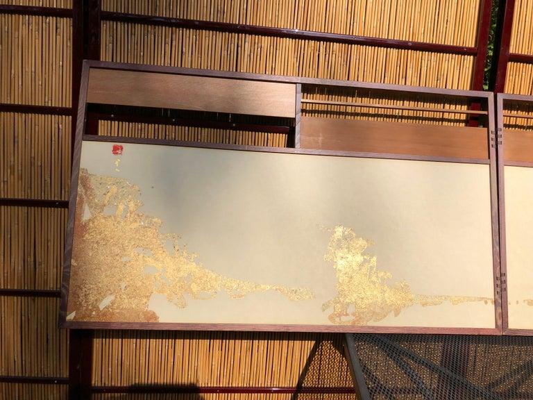 Showa Japan Small Gold Folding Two-Panel Tea Screen