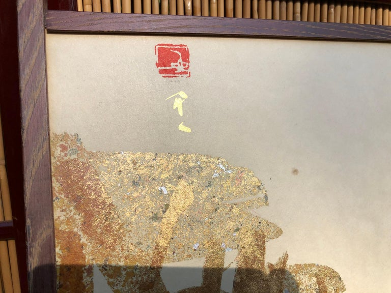 Japanese Japan Small Gold Folding Two-Panel Tea Screen