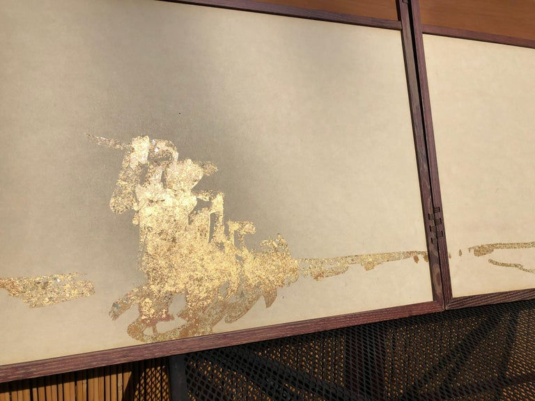Hand-Painted Japan Small Gold Folding Two-Panel Tea Screen