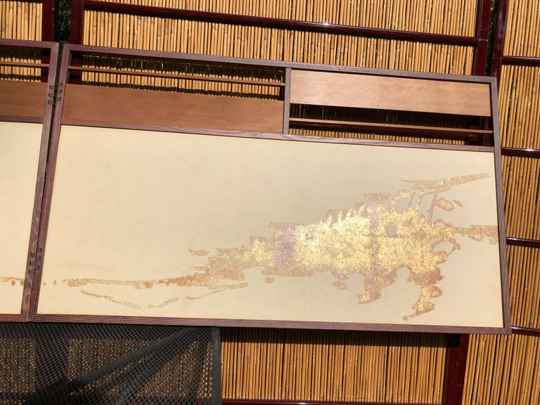 20th Century Japan Small Gold Folding Two-Panel Tea Screen