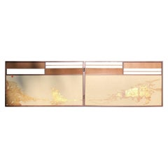 "Japan Small Gold Folding Two-Panel Tea Screen ""Contemporary Mountainside"""