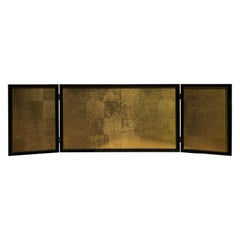 "Japan Small Gold Leaf Folding Three-Panel Tea Screen, ""Contemporary Leaf"""