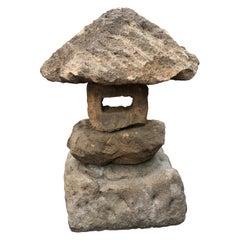 """Japan """"Spirit Mountain"""" Stone Lantern Hand Carved Organic Natural Style"""