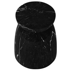 Japan Table, Contemporary Marble Side Table or Stool in Nero Marquina