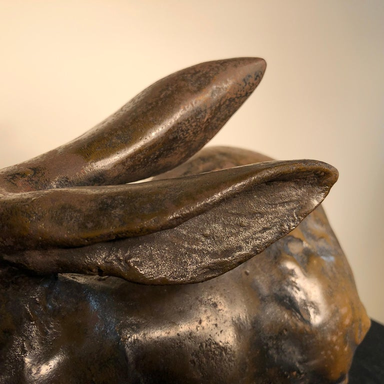 Japan Tall Elegant Antique Bronze Rabbit Usagi Unusual Paw, Well Sculpted & Box For Sale 4
