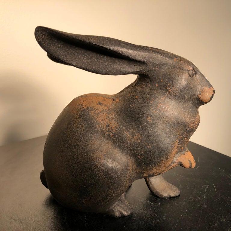 Taisho Japan Tall Elegant Antique Bronze Rabbit Usagi Unusual Paw, Well Sculpted & Box For Sale