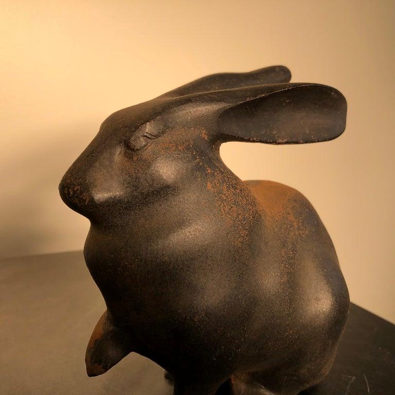20th Century Japan Tall Elegant Antique Bronze Rabbit Usagi Unusual Paw, Well Sculpted & Box For Sale