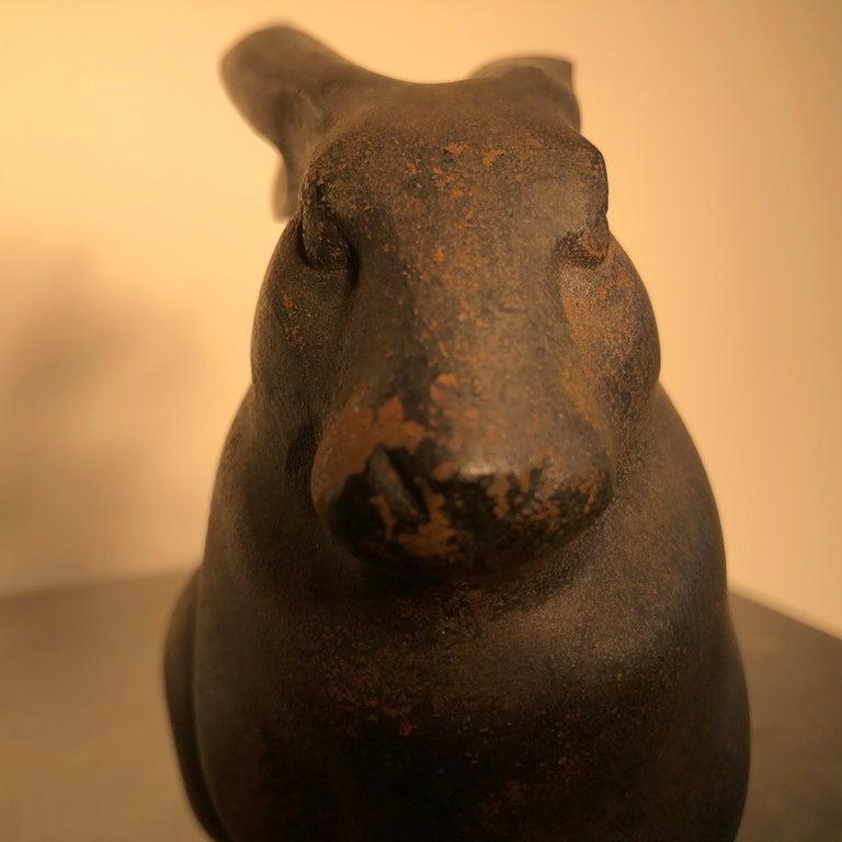 Japan Tall Elegant Antique Bronze Rabbit Usagi Unusual Paw, Well Sculpted & Box For Sale 1