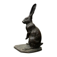 Japan Tall Old Bronze Rabbit With Chocolate Patina & Fine Details, Signed