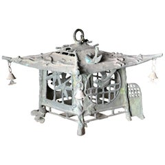 Japan Tea House Bronze Birds & Dragonflies Garden Lantern, 100 Yrs Old