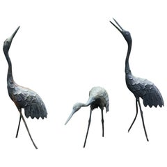 Japan Three Antique Bronze Cranes
