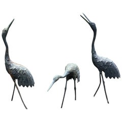 Japan Three Antique Bronze Cranes Hand Cast Beautiful Head and Feather Details