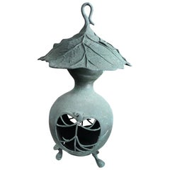 "Japan Unique Antique Bronze Art Nouveau ""Organic Gourd"" Lantern"