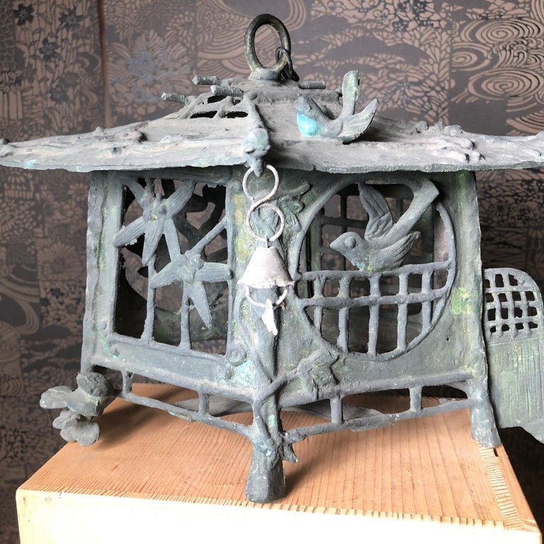 Taisho Japan Unique Tea House Bronze Garden Lantern Birds, Mushrooms, Fence 100 Yrs Old For Sale