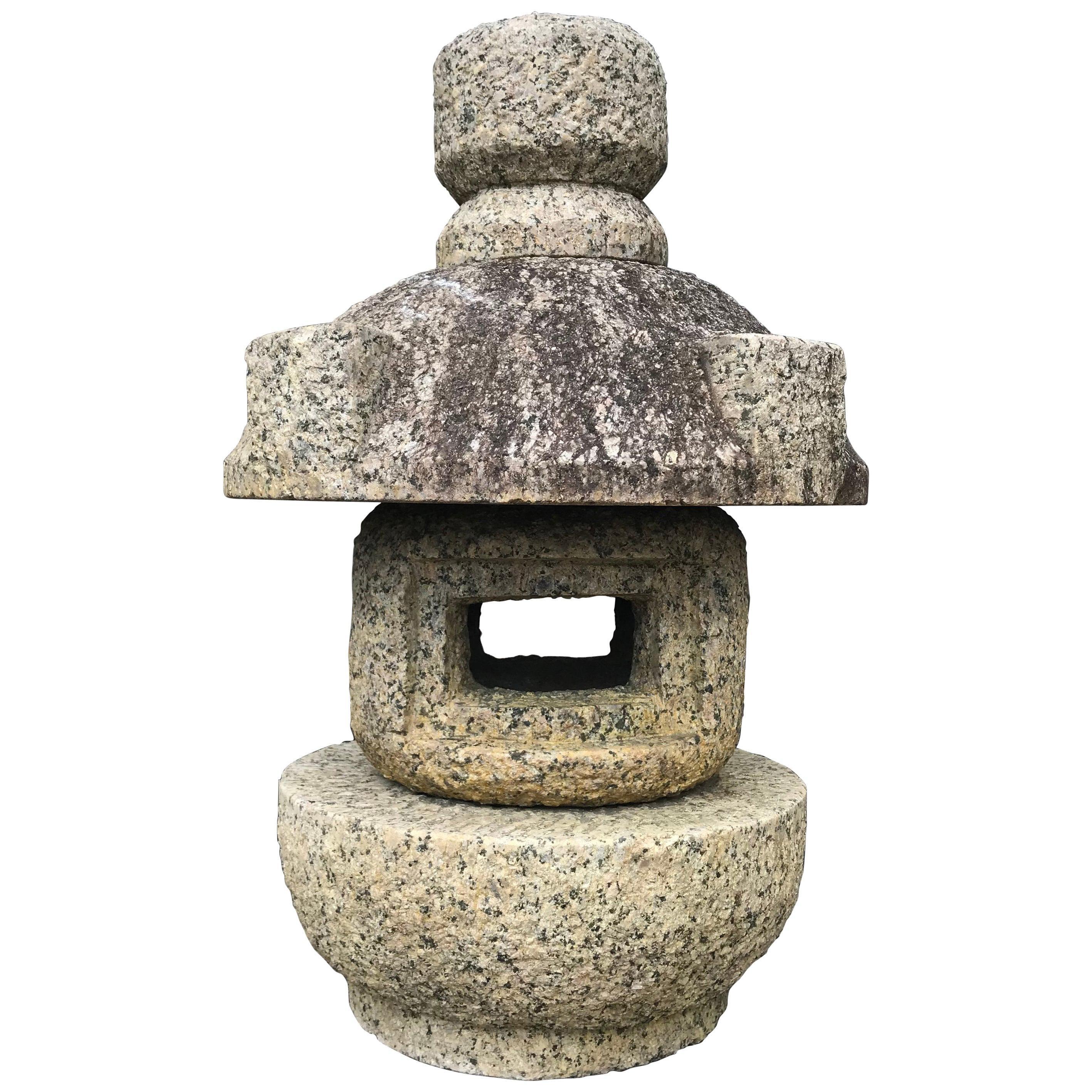 "Japan Vintage Stone Lantern ""Tamate"" Hand Carved Classic"