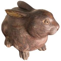 Japane Antique Big Rabbit Usagi Beautiful Eyes & Fine Combed Fur, One-of-a-Kind
