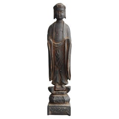 Japanese 1500-1600s Antique Wood Carving Buddha Statue / Shaka Nyorai
