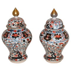 Japanese 17th Century Imari Temple Jars, a Pair High