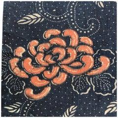 """Japanese 1890 Hand Spun Cotton """"Chrysanthemum"""" Wall Art Bridal Gift Meiji Period"""