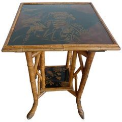 Japanese 1940s Bamboo Side Table with Painted Inlay on Both Table Top Surfaces