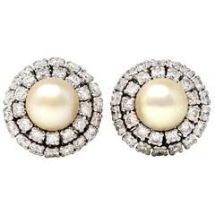 Japanese 1950s Akoya Pearl and Diamond Lever-Back Earrings in 18 Karat Gold