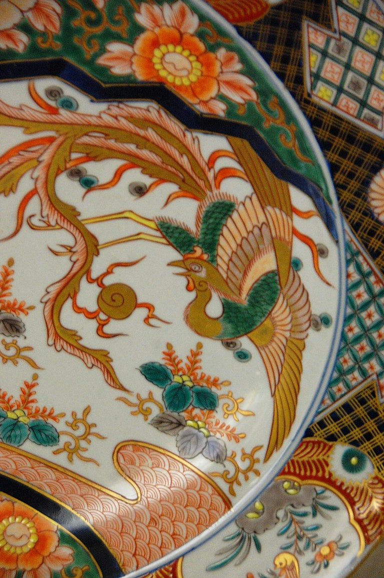 Meiji Japanese 19th Century Imari Charger with Phoenix Rising Motif For Sale