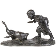 Japanese 19th Century Bronze Study of a Young Boy Chasing Geese