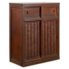 Japanese 19th Century Cabinet with Sliding Doors and Woven Criss-Cross Design