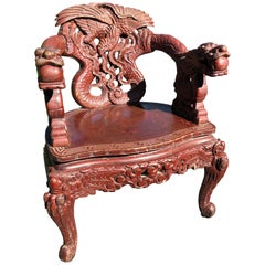 Japanese 19th Century Carved Dragon Chair Original Paint