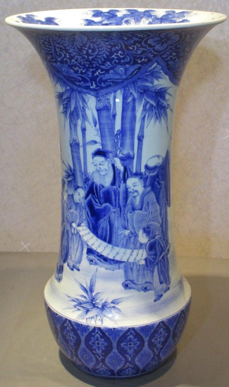 Meiji Japanese 19th Century Fukagawa Koransha Blue White Porcelain Vase, circa 1890 For Sale