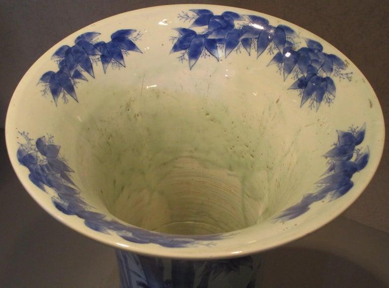 Japanese 19th Century Fukagawa Koransha Blue White Porcelain Vase, circa 1890 For Sale 1