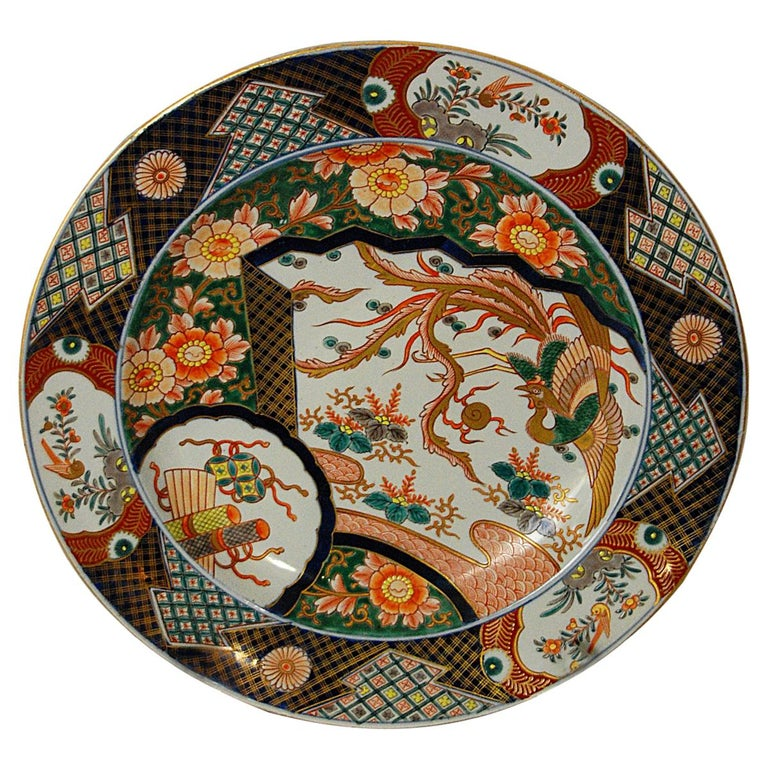Japanese 19th Century Imari Charger with Phoenix Rising Motif For Sale