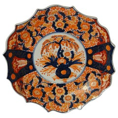 Japanese 19th Century Imari Shaped Charger with Potted Bonsai and Flower