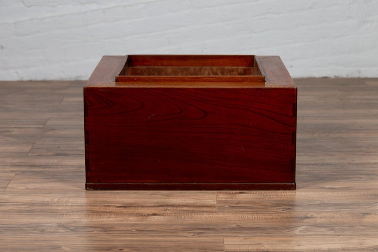 Japanese 19th Century Keyaki Wood Rectangular Hibachi with Copper Liner In Good Condition For Sale In Yonkers, NY