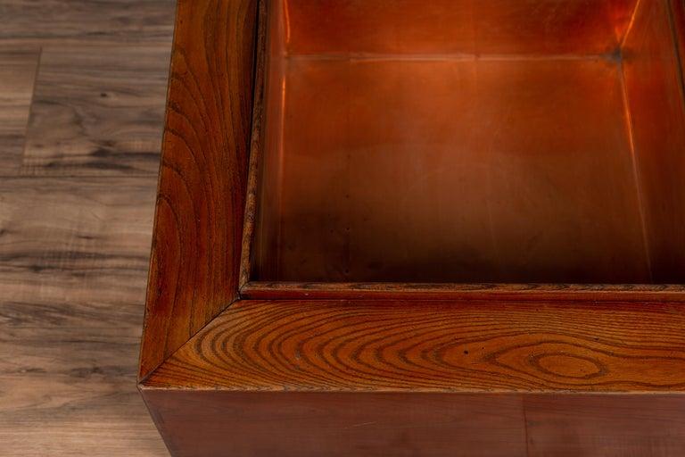 Japanese 19th Century Keyaki Wood Rectangular Hibachi with Copper Liner For Sale 1