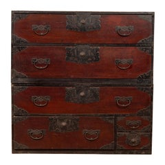 Japanese 19th Century Lacquered Merchant's Chest with Elaborate Iron Hardware