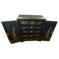 Japanese 19th Century Lacquered Miniature 2-Door and 5-Drawer Jewelry Cabinet