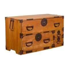 Japanese 19th Century Meiji Period Kiri Wood Clothing Chest with Iron Hardware