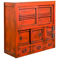Japanese 19th Century Meiji Period Red Cabinet with Sliding Doors and Drawers