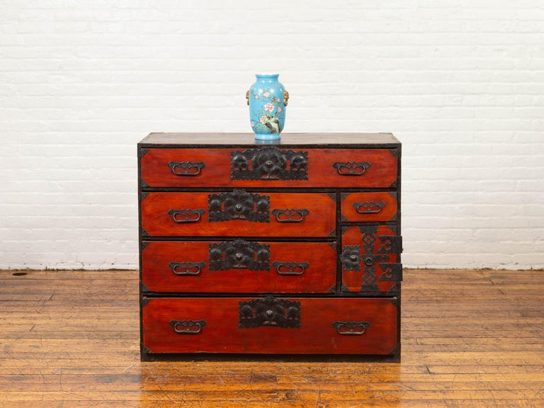 Lacquered Japanese 19th Century Meiji Period Sendai Clothing Tansu with Bronze Hardware For Sale