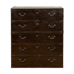 Japanese 19th Century Meiji Period Tall Five-Drawer Clothing Tansu Chest