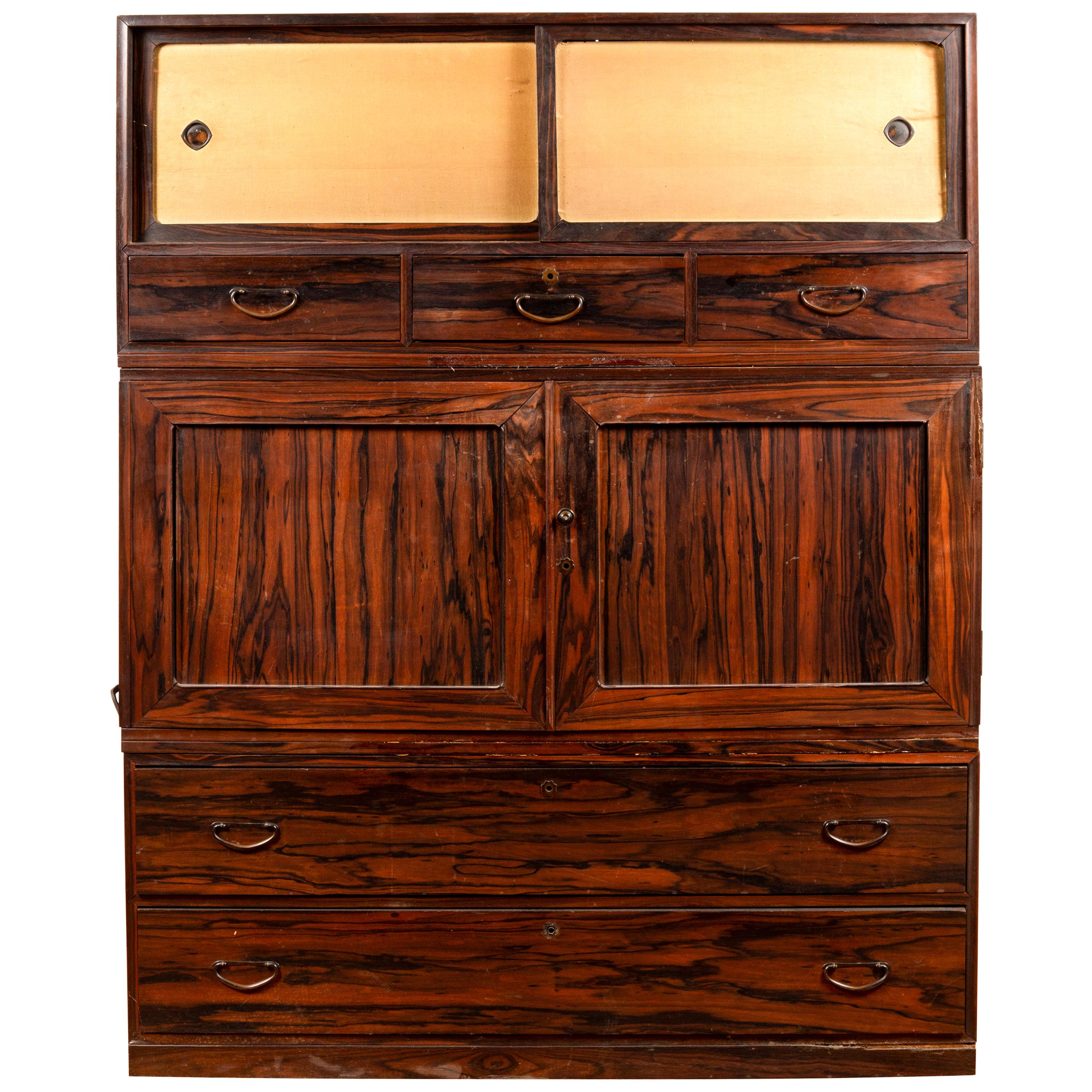 Japanese 20th Century Mulberry Wood Kimono Cabinet with Doors and Drawers