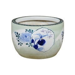 Japanese 19th Century Soft Green Goldfish Bowl with Blue Floral Motifs