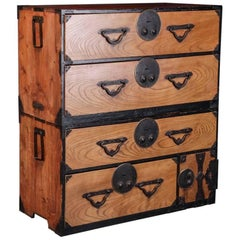 Japanese 19th Century Tansu Elmwood Chest