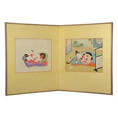Japanese 2-Panel 'Shunga' Screen with Finely Painted Erotic Depictions of Lovers