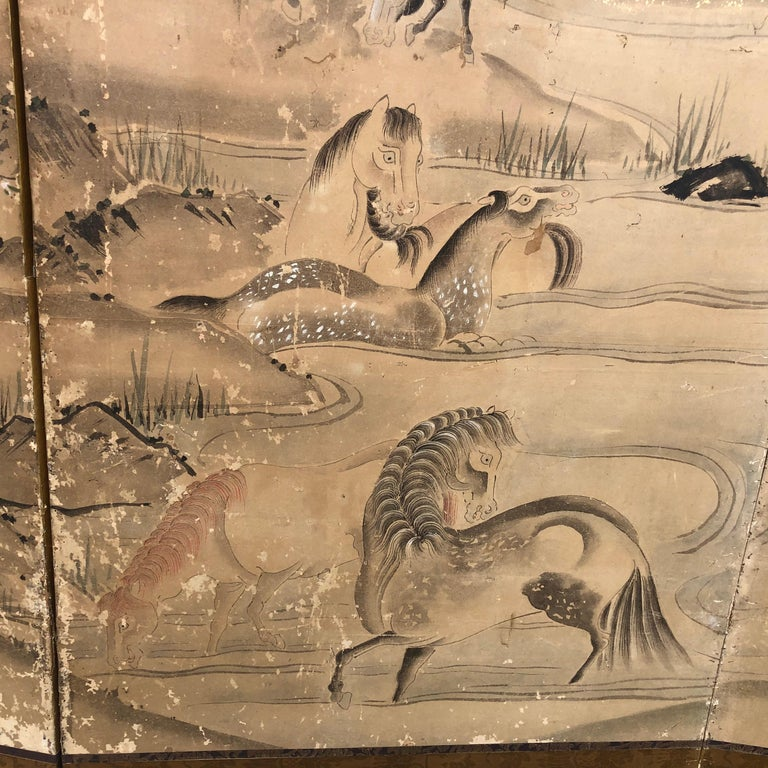 Japanese 20 Horses Fine Antique Six-Panel Screen, Edo Period, 19th Century For Sale 6