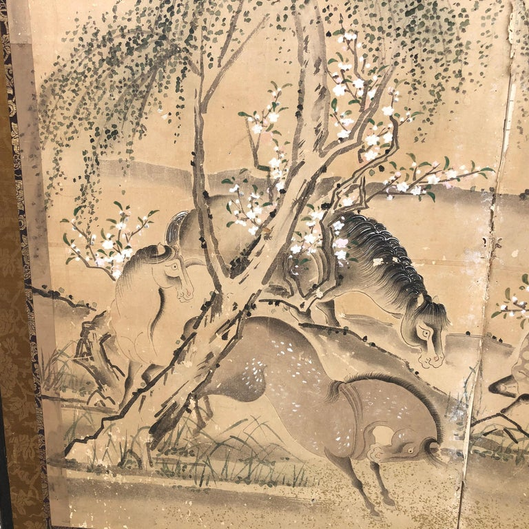 Japanese 20 Horses Fine Antique Six-Panel Screen, Edo Period, 19th Century For Sale 12