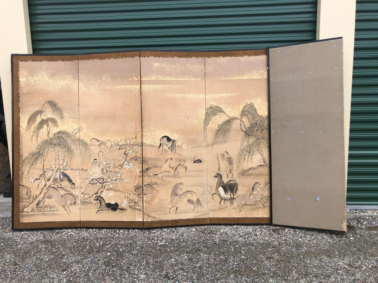 Japanese 20 Horses Fine Antique Six-Panel Screen, Edo Period, 19th Century For Sale 13