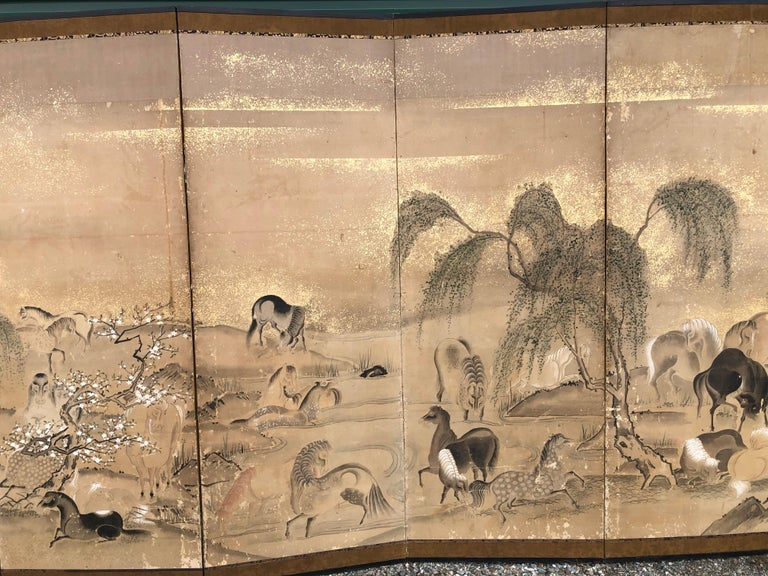 Hand-Painted Japanese 20 Horses Fine Antique Six-Panel Screen, Edo Period, 19th Century For Sale